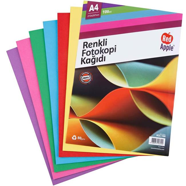 RED APPLE FOTOKOPİ KAĞIDI RENKLİ 25 Lİ KCC-100