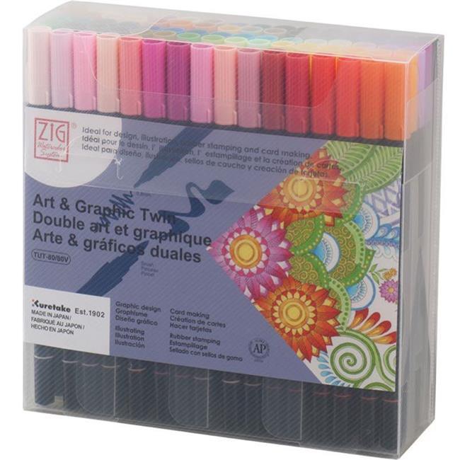 KURETAKE ZIG ART AND GRAPHIC TWIN-ÇİFT UÇLU 80 RENK SET Flexible Brush ve 0.8 Fine Kalem