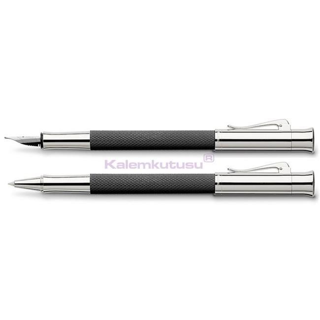 Graf von Faber-Castell Guilloche Desen Siyah Dolma Kalem + Roller Kalem Set  %30 İndirimli Fiyatlarla