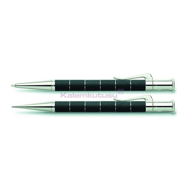 Graf von Faber-Castell Anello Abanoz/Platin Tükenmez Kalem + Versatil Kalem Set %30 İndirimli Fiyatlarla