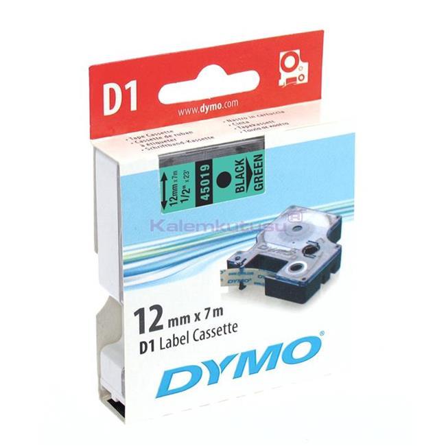 DYMO LabelManager serisi D1 yedek şerit - 12mm x 7mt - Yeşil/Siyah