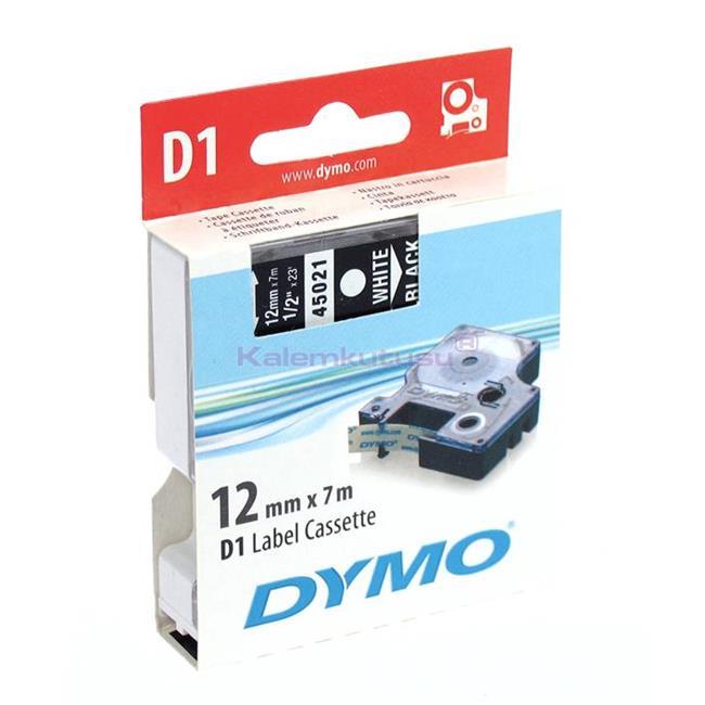 DYMO LabelManager serisi D1 yedek şerit - 12mm x 7mt - Siyah/Beyaz %30 İndirimli Fiyatlarla