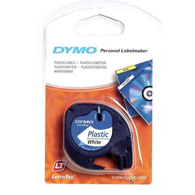 DYMO LetraTag serisi Plastik şerit 12mm x 4mt Plastik Beyaz