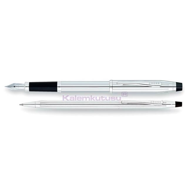 Cross Century Classic Parlak Krom Dolma Kalem + Tükenmez Kalem Takım Tek Kalem Fiyatına %30 İndirimli Fiyatlarla