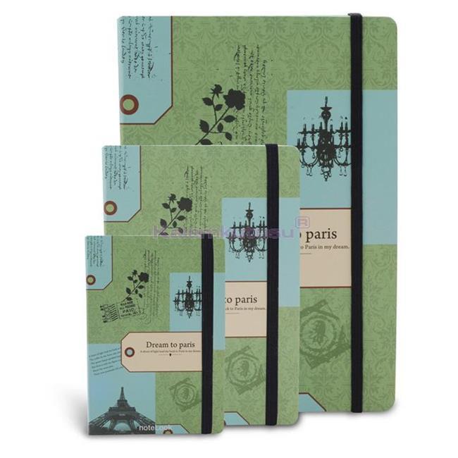 Scrikss noteLook Dream To PARIS Yeşil Temalı Çizgili Not Defteri -  A6 (10.5x14.8cm)