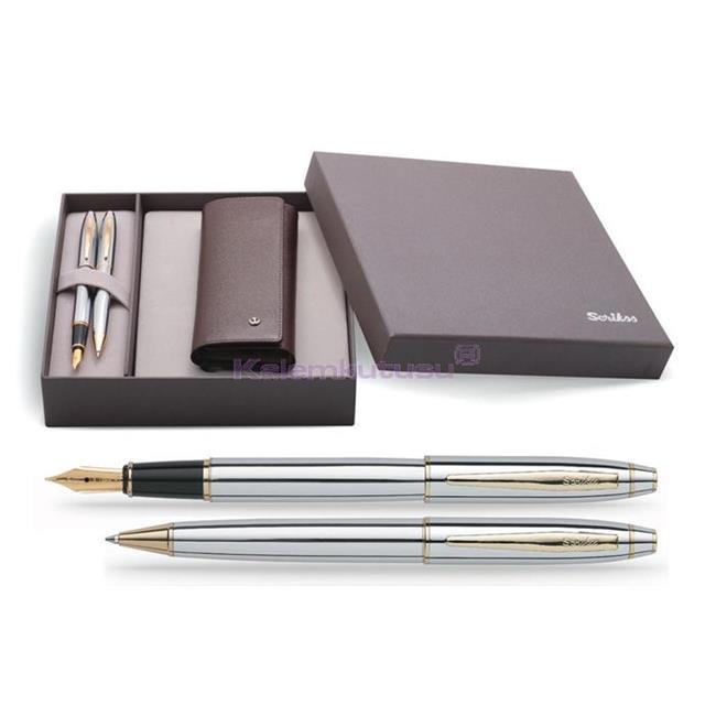 SCRIKSS 35 Parlak Krom/Altın Dolmakalem + Tükenmezkalem + İkili Kalem Kılıfı Hediye Set  %30 İndirimli Fiyatlarla