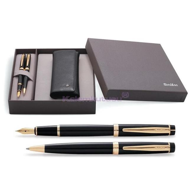 SCRIKSS 38 Parlak Siyah/Altın Dolmakalem + Tükenmezkalem + İkili Kalem Kılıfı Hediye Set  %30 İndirimli Fiyatlarla