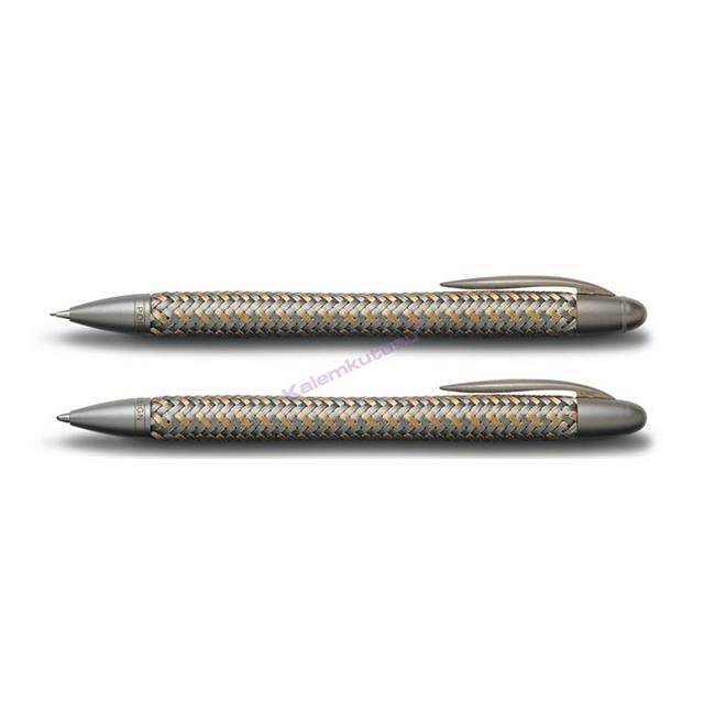 PORSCHE DESIGN 3110 TecFlex Altın-Çelik Örgü Tükenmez kalem + M.Kurşun kalem Set %30 İndirimli Fiyatlarla