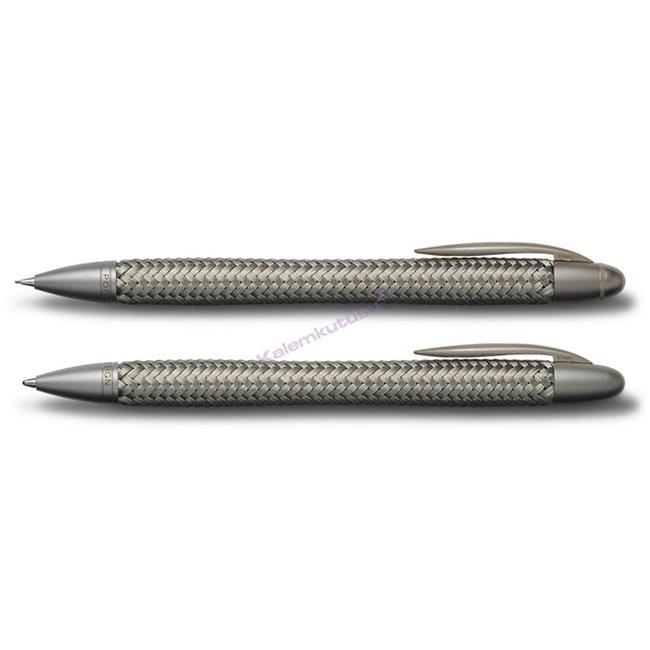 PORSCHE DESIGN 3110 TecFlex Çelik Örgü Tükenmez kalem + M.Kurşunkalem Set %30 İndirimli Fiyatlarla