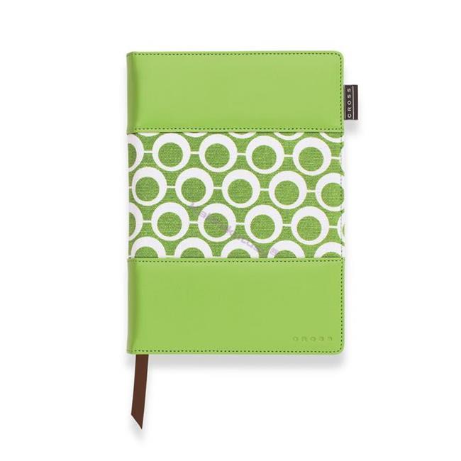 Cross Mod Journals Medium(A5) Çizgili Defter Yeşil-Beyaz Kumaş/Deri (Kalem Hediye)