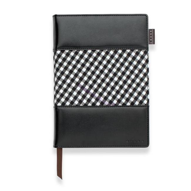 Cross Gingham Journals Medium(A5) Çizgili Defter Siyah-Beyaz Kumaş/Deri (Kalem Hediye) %30 İndirimli Fiyatlarla