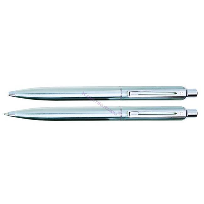 SHEAFFER Sentinel Yarı Mat Krom-Çelik Tükenmezkalem + M.Kurşunkalem Set  %30 İndirimli Fiyatlarla