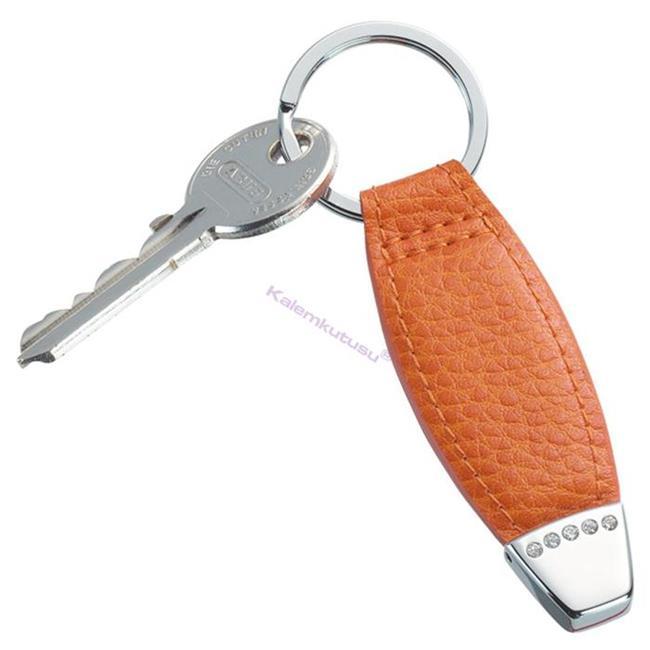 ONLINE Leather Crystallized® -Swarovski Tasarım Deri Anahtarlık (10x2.5cm) - Juicy Mango