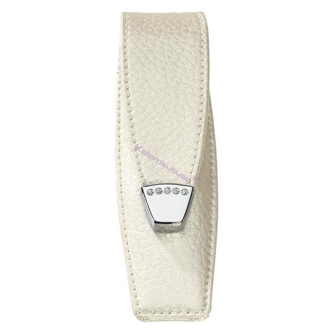 ONLINE Leather Crystallized® -Swarovski Tasarım Kısa Tekli Kalem Kılıfı (12x3.5cm) - Pearl White