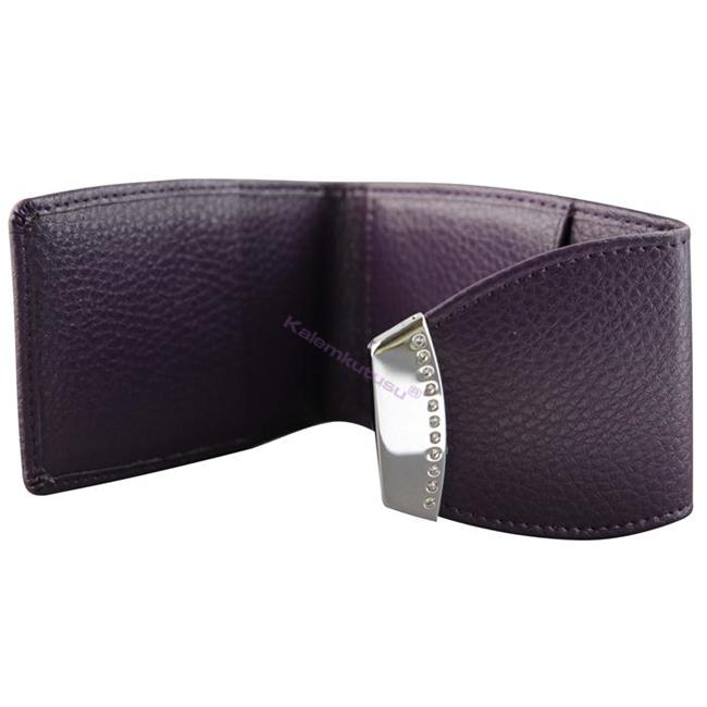 ONLINE Leather Crystallized® -Swarovski Tasarım Deri Kredi Kartlık(11x7cm) - Fantastic Plum %30 İndirimli Fiyatlarla