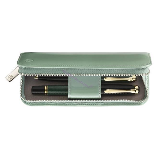 Pelikan Pastel Yeşili Rugan Deri 2'li Kalem Kılıfı