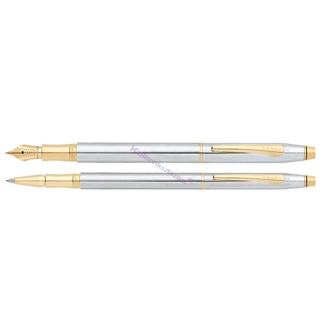 Cross Classic Century Medalist Slim Parlak Krom / Altın Dolma kalem + Roller kalem Takım  %30 İndirimli Fiyatlarla