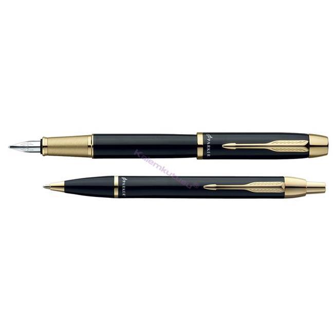 Parker I.M. Parlak Siyah/Altın Dolma kalem + Tükenmez kalem Set  %30 İndirimli Fiyatlarla