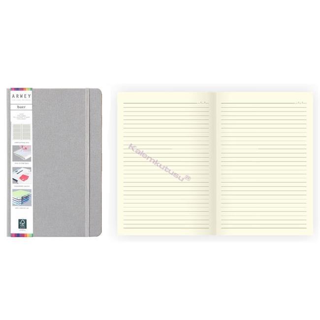 Arwey Baer Notebook Lastikli Sert Kapak Çizgili Kalemli 13.2x21cm Gri
