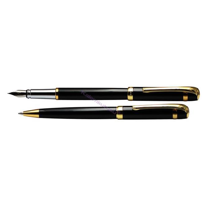 Steelpen Saturn183 Parlak Krom/Altın Kaplama Dolma Kalem + Tükenmez Kalem Set  %30 İndirimli Fiyatlarla