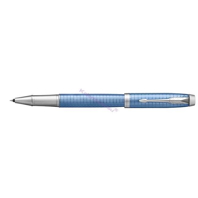Parker IM Premium Chrome Grafik Kare Gravürlü Mavi Roller Kalem