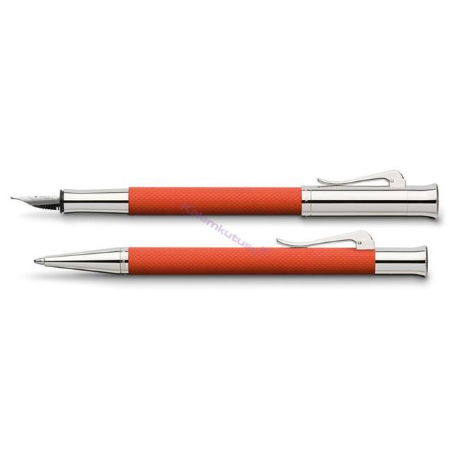 Graf von F-Castell Guilloche Yanık Turuncu Dolma kalem + Tükenmez Kalem