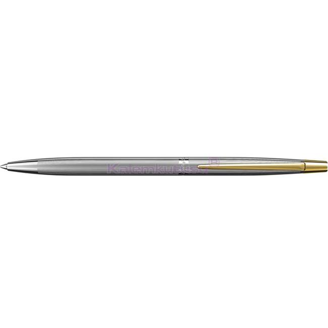 Scrikss Venüs711 Çizgi Desen Parlak Krom/Altın İnce Tükenmez kalem   %30 İndirimli Fiyatlarla