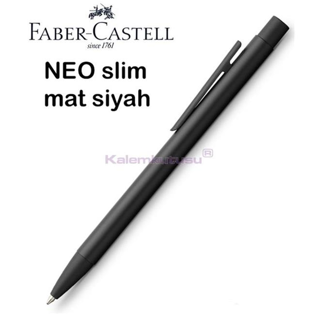 Faber-Castell Neo Slim Mat Siyah Lake Çelik Tükenmez Kalem<br><img src='resim/isyaz.gif' border='0'/>
