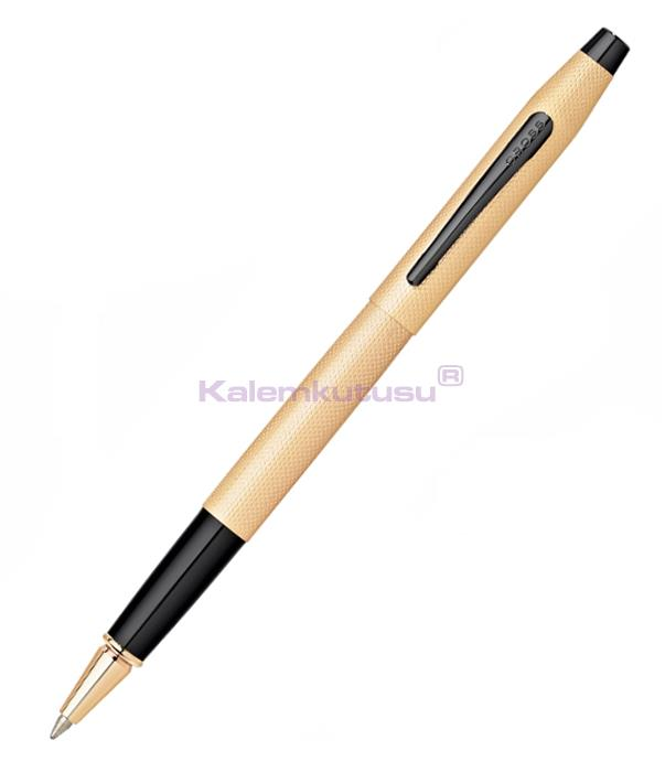 Cross Classic Century Brushed Rose-Gold PVD Black Roller Kalem<br><img src='resim/isyaz.gif' border='0'/>