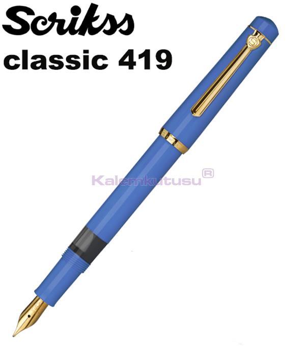 Scrikss Classic Model419 Dolma Kalem - Indigo Mavi<br><img src='resim/isyaz.gif' border='0'/>