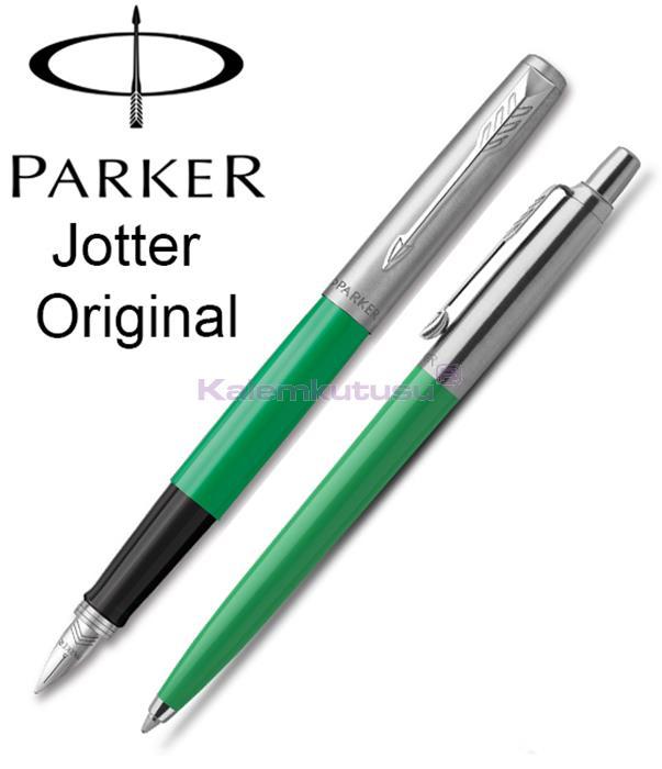 Parker Jotter Original ABS Plastik/Çelik Dolma Kalem + Tükenmez Kalem - Elektrik Yeşil<br><img src='resim/isyaz.gif' border='0'/>