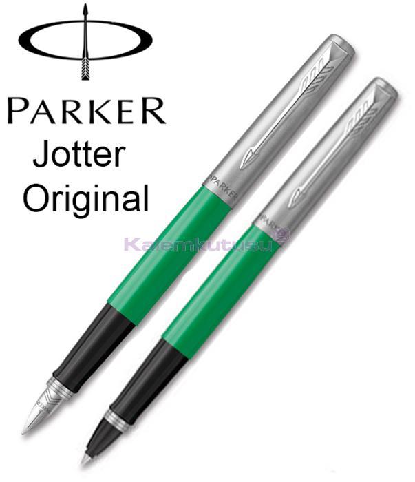 Parker Jotter Original ABS Plastik/Çelik Dolma Kalem + Roller Kalem - Elektrik Yeşil<br><img src='resim/isyaz.gif' border='0'/>