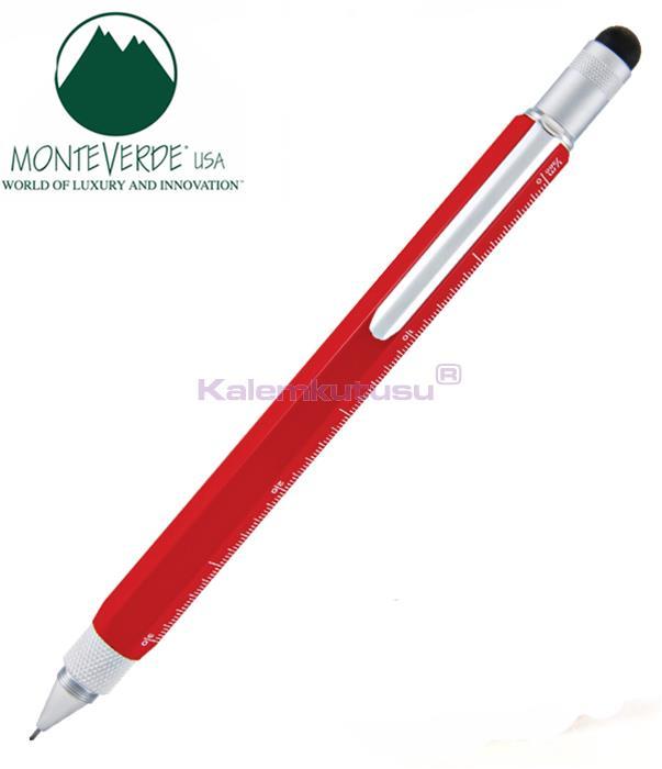 MONTEVERDE U.S.A Tool Pen 0.9 Versatil+Stylus+2 Tornavida+4 Cetvel Kırmızı %30 İndirimli Fiyatlarla