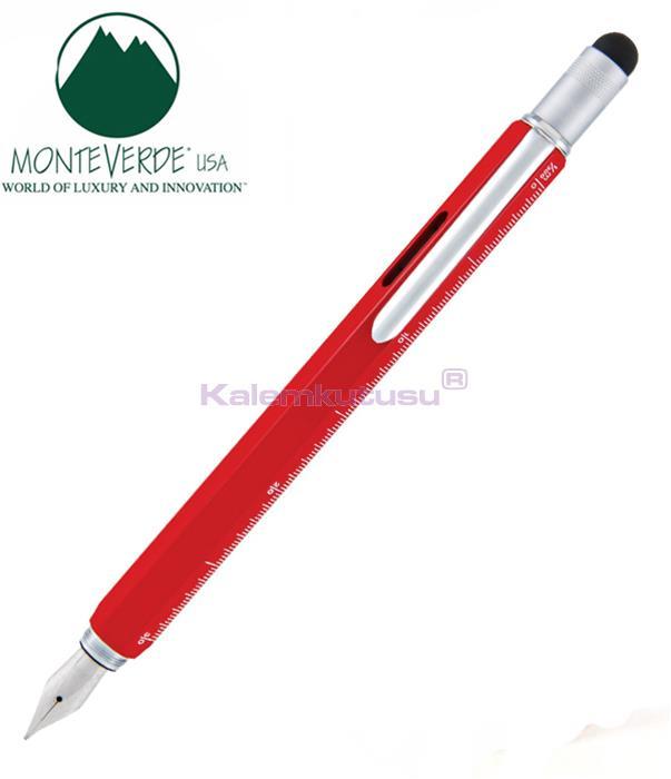 MONTEVERDE U.S.A Tool Dolma Kalem+Stylus+2 Tornavida+4 Cetvel+Su Terazisi - Kırmızı %30 İndirimli Fiyatlarla