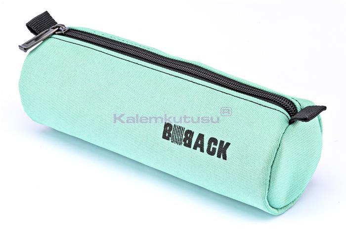 B-Back Silindir Kalem Çantası 20x22cm - Siyah/Turkuaz