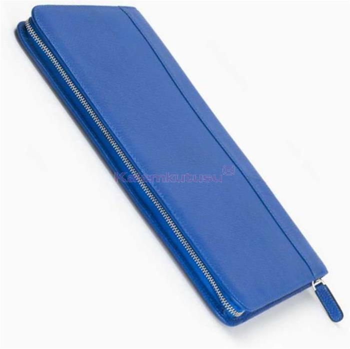 Carens Hakiki Deri Kalem Çantası 30'lu Metalik Mavi