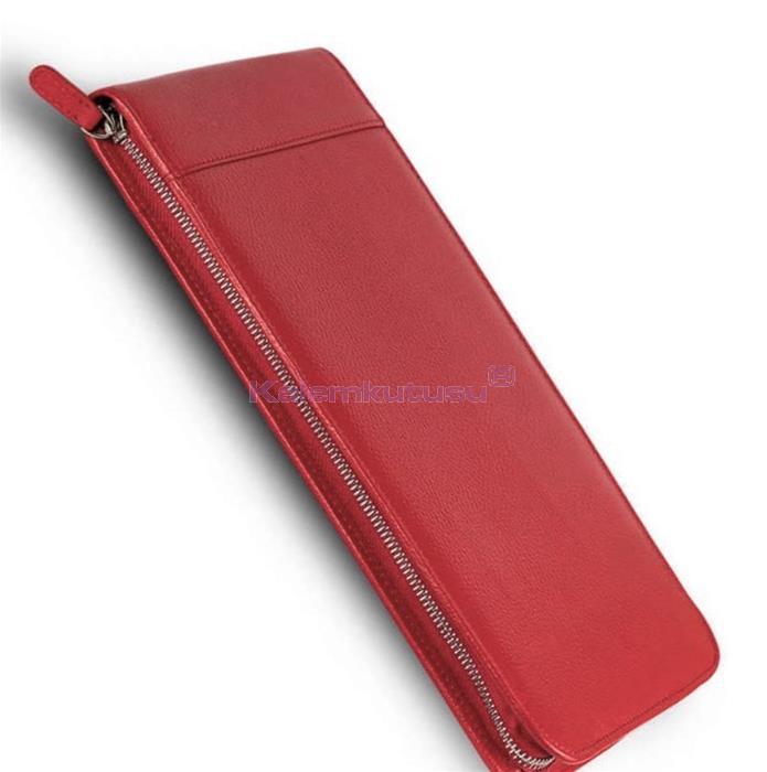 Carens Hakiki Deri Kalem Çantası 30'lu Kırmızı