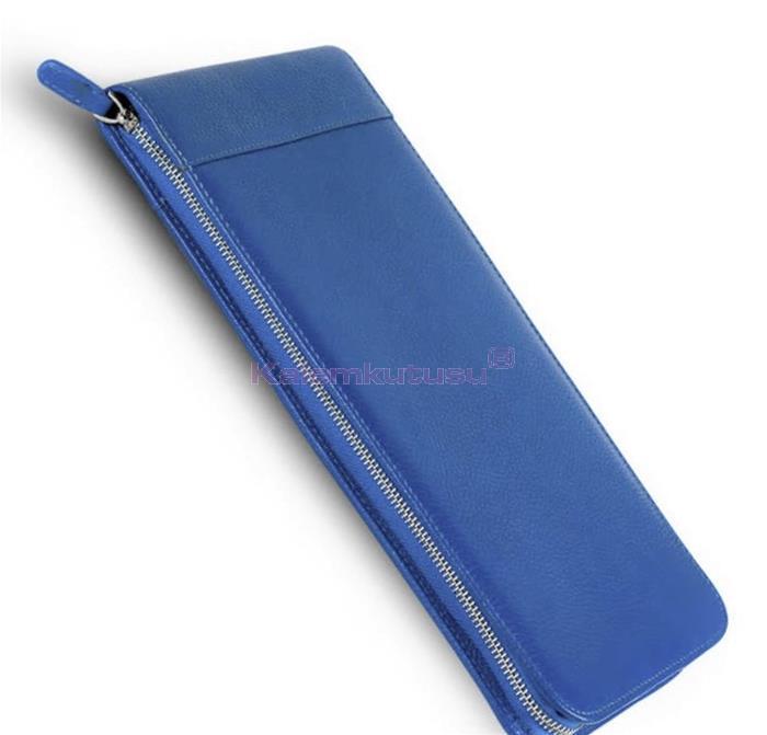 Carens Hakiki Deri Kalem Çantası 40'lı Metalik Mavi