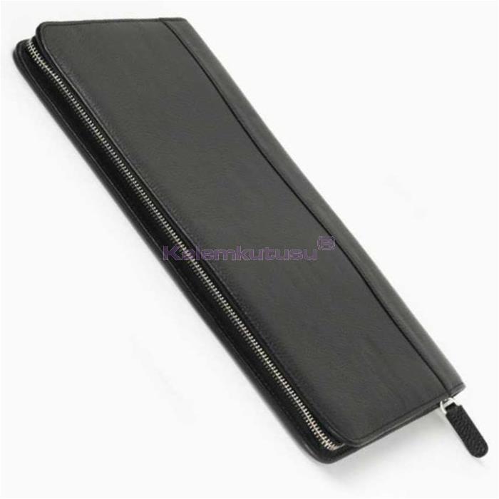 Carens Hakiki Deri Kalem Çantası 40'lı Siyah