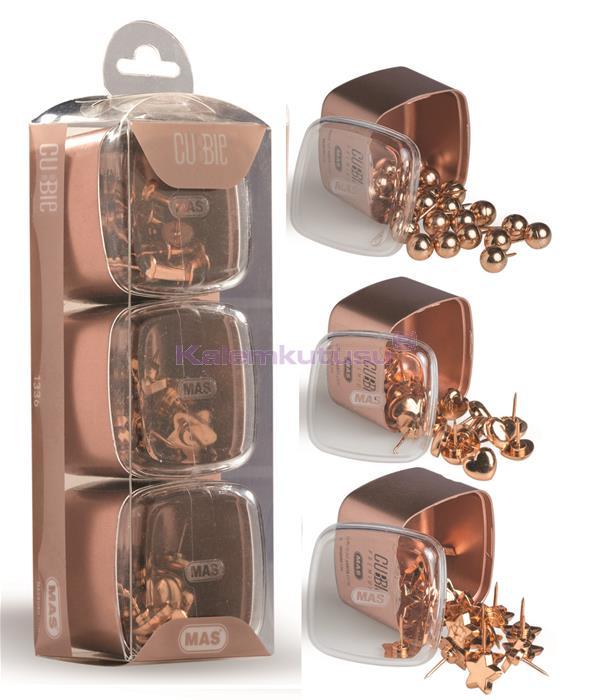 Mas Cubbie Premium Rose Gold Kalp/Top/Yıldız Pano Çivisi Üçlü Set