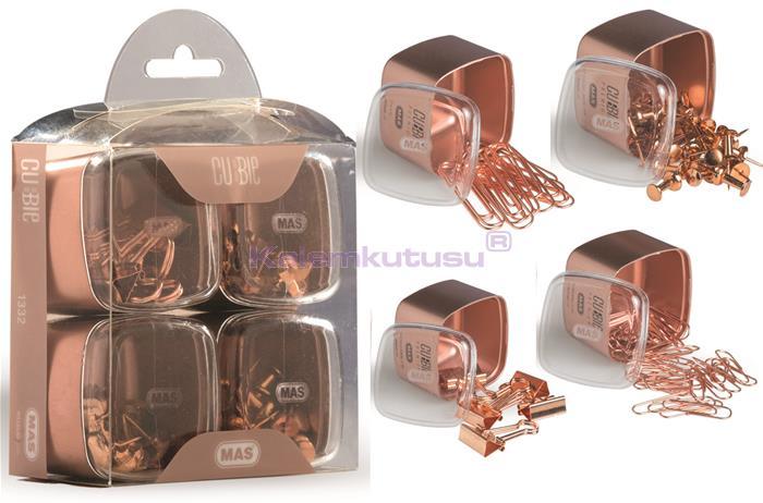 Mas Cubbie Premium Rose Gold Ofis Kırtasiye Dörtlü Set