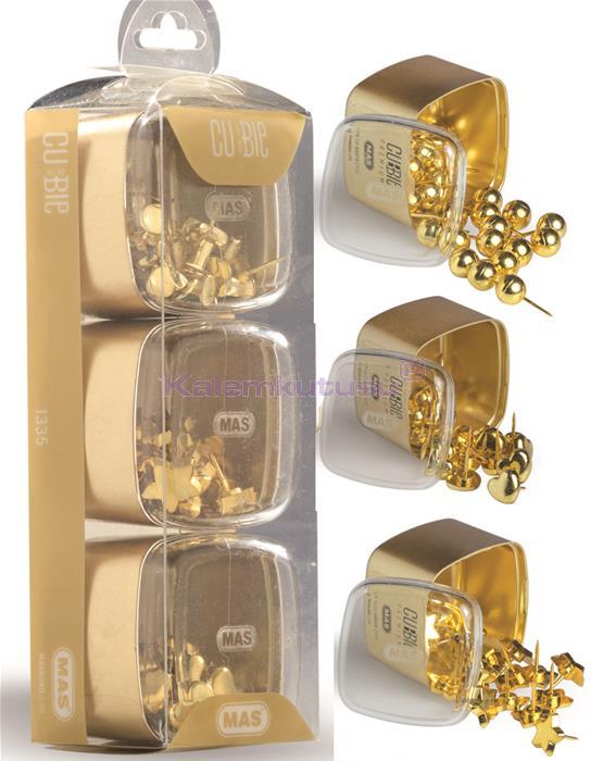 Mas Cubbie Premium Gold Kalp/Top/Yıldız Pano Çivisi Üçlü Set