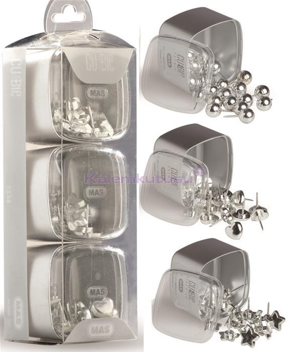 Mas Cubbie Premium Silver Kalp/Top/Yıldız Pano Çivisi Üçlü Set