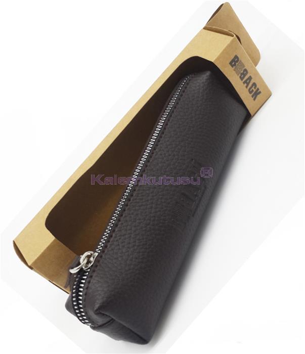 B-Back Damarlı Suni Deri Kalem Çantası 20x6.5cm - Kahverengi