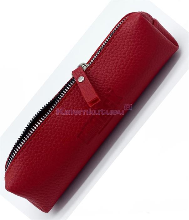 B-Back Damarlı Suni Deri Kalem Çantası 20x6.5cm - Kırmızı