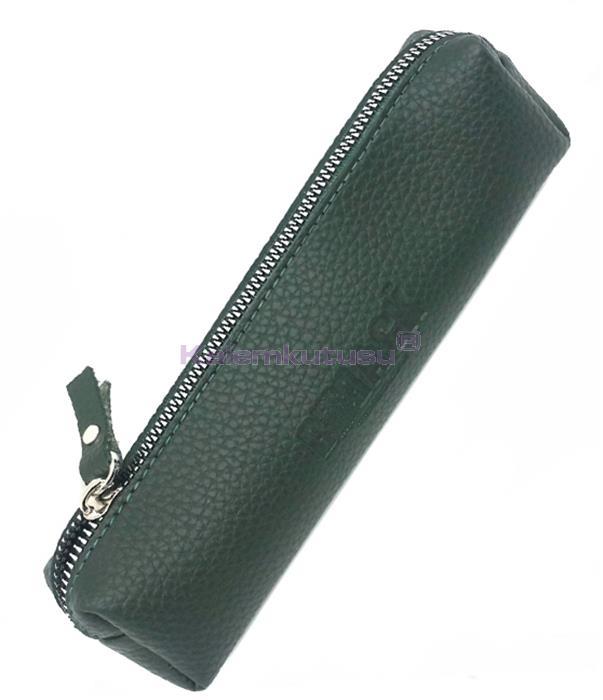 B-Back Damarlı Suni Deri Kalem Çantası 20x6.5cm -Koyu Yeşil