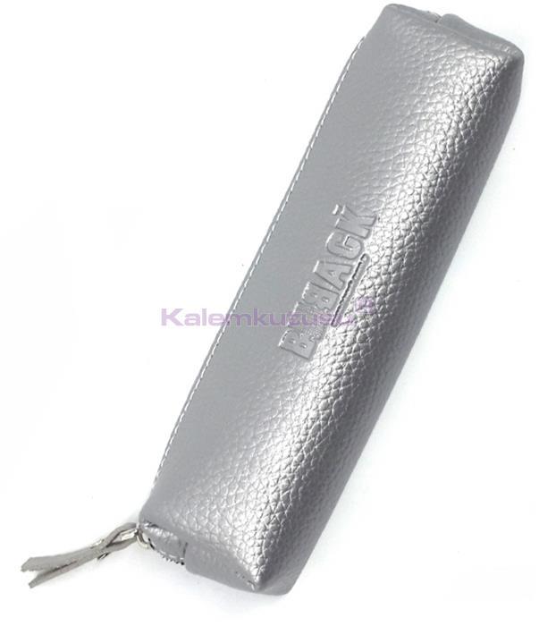 B-Back Damarlı Suni Deri Kalem Çantası 20x6.5cm - Gümüş