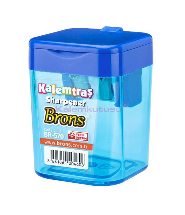 Brons BR-570 Kare Hazneli Kalemtraş Mavi