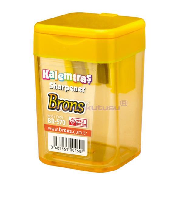 Brons BR-570 Kare Hazneli Kalemtraş Sarı