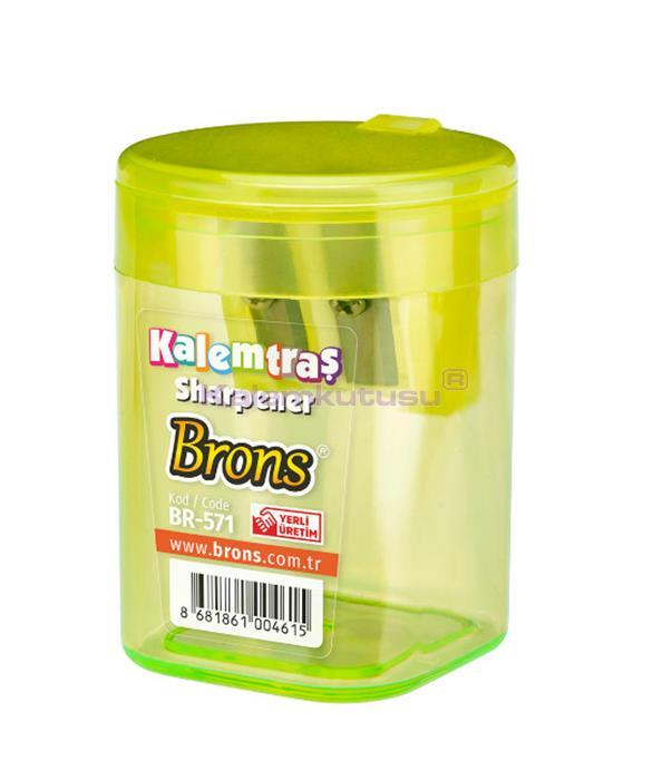 Brons BR-571 Silindir Hazneli Kalemtraş Açık Yeşil